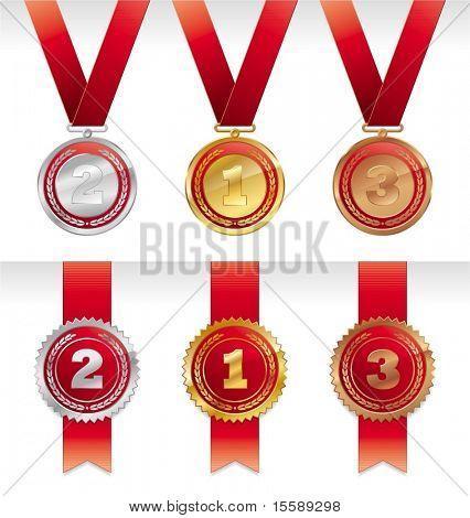 Tres medallas - oro, plata y bronce