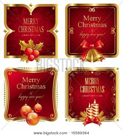 Merry Christmas & happy new year luxury golden frame