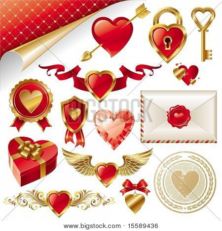 Vector set with Valentines signs and symbols