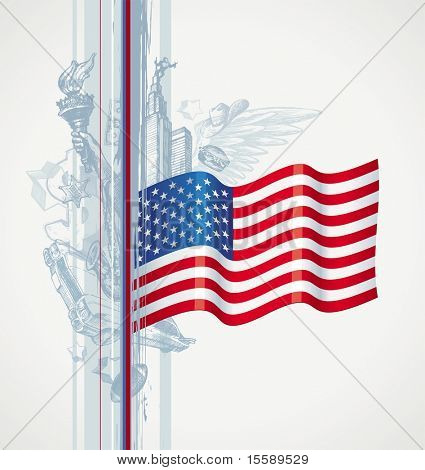 USA flag and hand drawn attributes of the American life