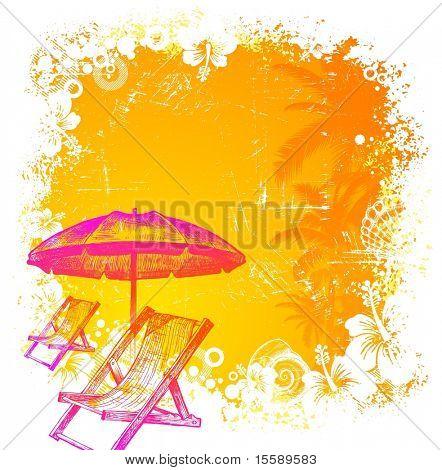 Silla de playa dibujado de la mano y el paraguas sobre un fondo grunge tropical