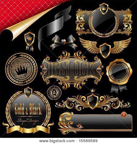 Conjunto de oro real y negro elementos de diseño