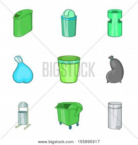 Capacity for garbage icons set. Cartoon illustration of 9 capacity for garbage vector icons for web