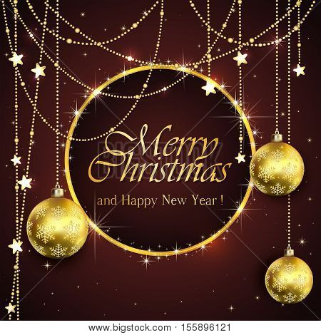 Black background with Christmas balls and golden stars, holiday decorations with inscriptions Merry Christmas and Happy New Year, illustration.