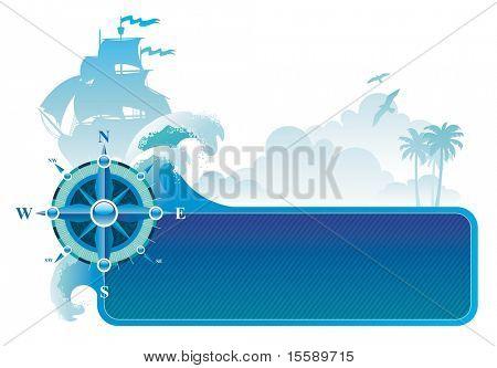 Rahmen mit Kompass-rose