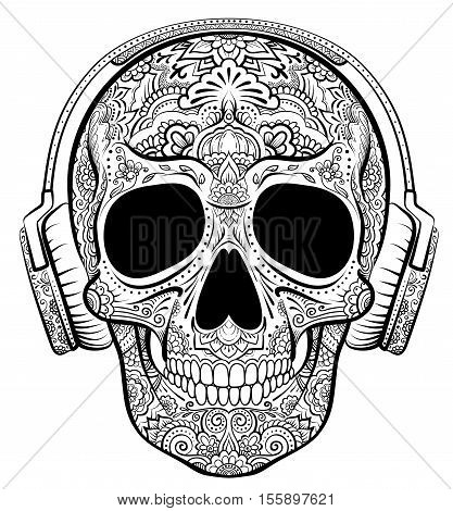 Vector skull graphics with floral ornaments and earphones