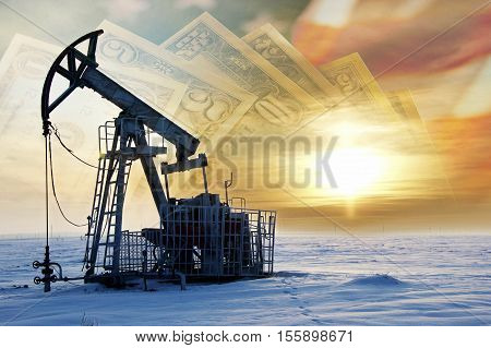 Oil And Gas Industry. Work Of Oil Pump Jack On A Oil Field. White Clouds And Blue Sky. Oil Well Pump