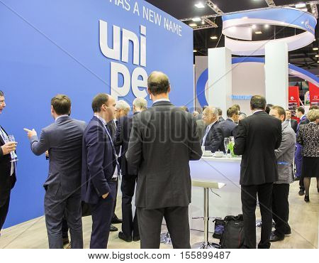 St. Petersburg, Russia - 4 October, Communication of business people at Gas Forum, 4 October, 2016. Petersburg Gas Forum which takes place in Expoforum.