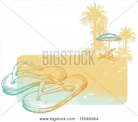 Hand drawn slippers on tropical coast