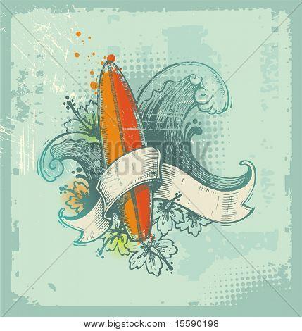 Vector emblema de surf dibujado mano