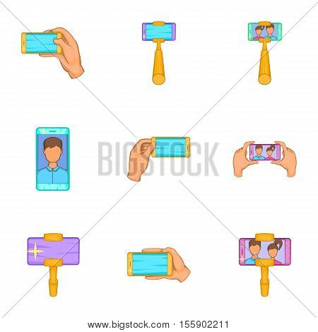 Shooting on cell phone icons set. Cartoon illustration of 9 shooting on cell phone vector icons for web