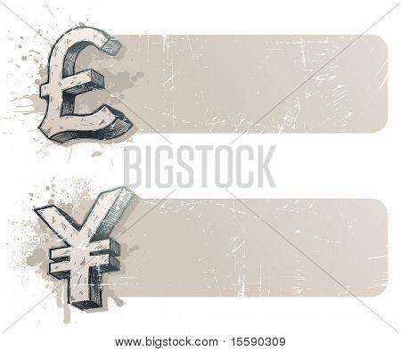 Banners Vector con mano dibujado signos de moneda - yen y la libra esterlina