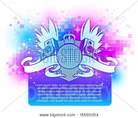 Colorful design with musical disco heraldry