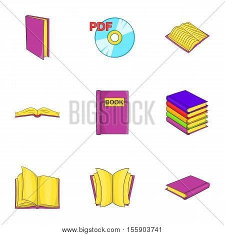 Textbooks icons set. Cartoon illustration of 9 textbooks vector icons for web
