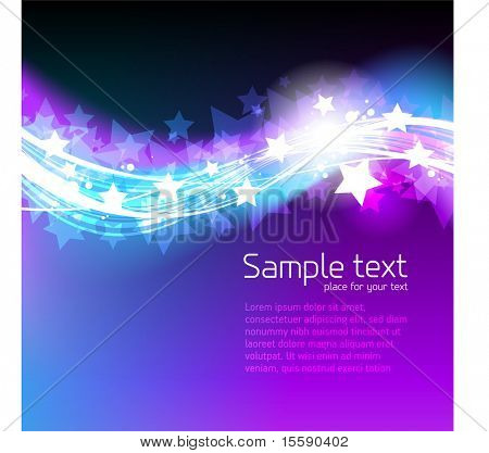 Abstract vector background with waves and stars