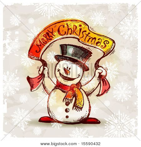 Happy snowman with holiday banner