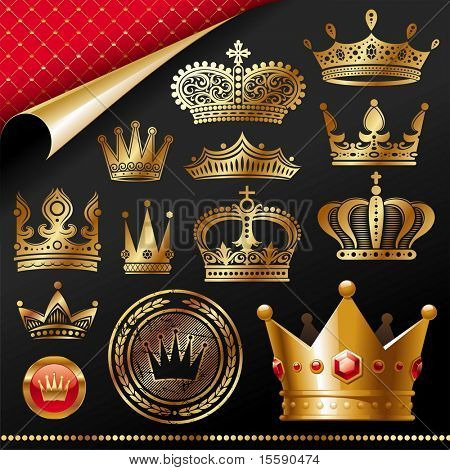Ornate golden royal crowns - vector set