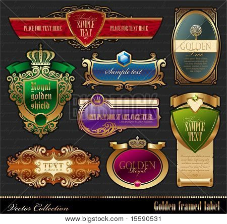 Vector set of golden luxury framed decorative ornate label