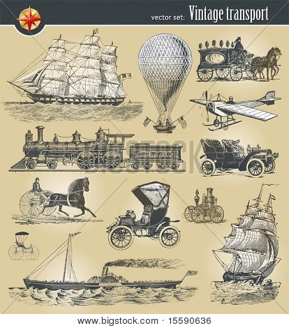 Vector set Vintage Historische Transportmittel