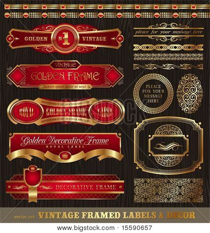Vector set of vintage framed golden labels, borders, patterns, ornament & other decor on wood texture