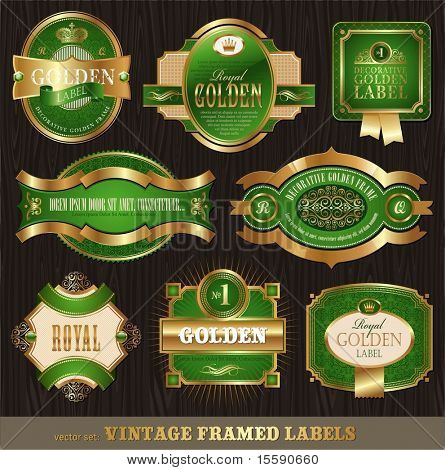 Vector vintage golden-green luxury ornate framed labels decorated patterns, banners, ribbons and ornaments - on a wood texture
