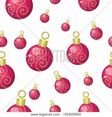 Christmas toys vector seamless pattern. Red balls to decorate Christmas tree on winter holidays on white background. Flat design. For gift wrapping, greeting cards, invitations, printings design
