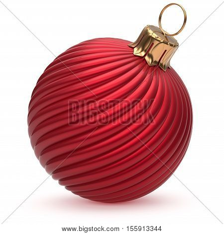 Christmas ball New Year's Eve decoration red shiny twisted stripes bauble wintertime hanging adornment souvenir scarlet. Traditional ornament happy winter holidays Merry Xmas symbol closeup. 3d render