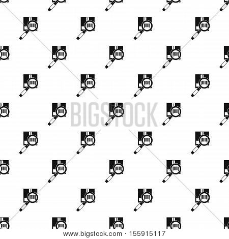Cardboard box and magnifying glass pattern. Simple illustration of box and magnifying glass vector pattern for web