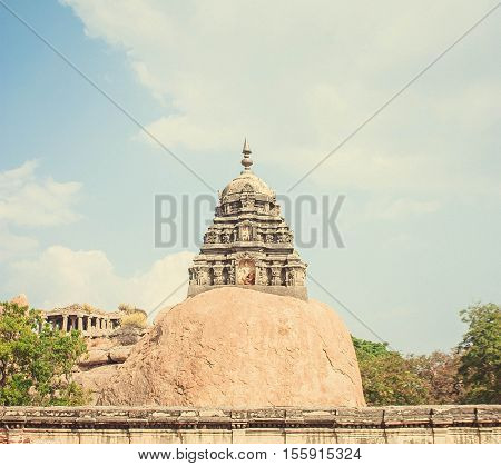 Old building and blue sky at Hampi
