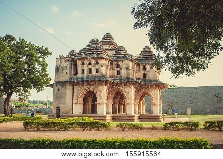 Old building and blue sky at Hampi India