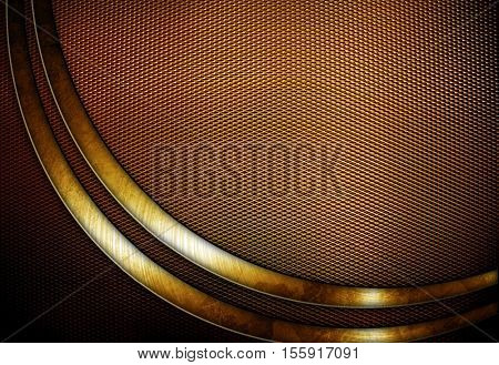 golden metal mesh with curve pattern background