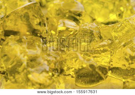 Jello. Yellow gelatin dessert. Macro shot. Selective focus