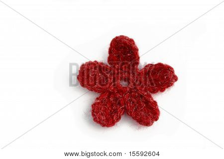 crocheted yarn flower