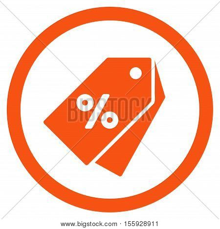 Percent Discount Tags rounded icon. Vector illustration style is flat iconic symbol, orange color, white background.