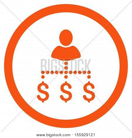 Person Payments rounded icon. Vector illustration style is flat iconic symbol, orange color, white background.