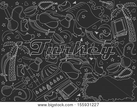Turkey chalky line art design vector illustration. Separate objects. Hand drawn doodle design elements.