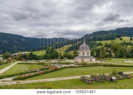 St. Lambrecht's Abbey is a Benedictine monastery in Styria Austria. Monastery garden with a garden pavilion