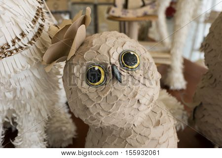 Cute owl doll made from paper for Interior