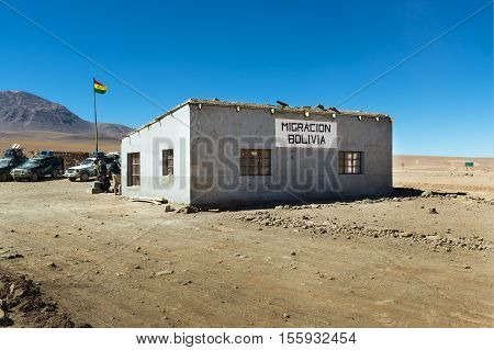 Potosí Department Bolivia - November 25 2013: View of the Customs office in the border between Chile and Bolivia in the Potosí Department.