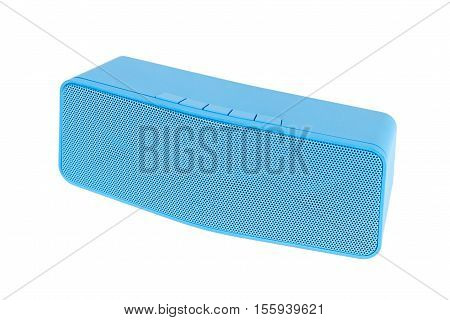 Blue Loudspeaker Blue Tooth - Isolated On White Background
