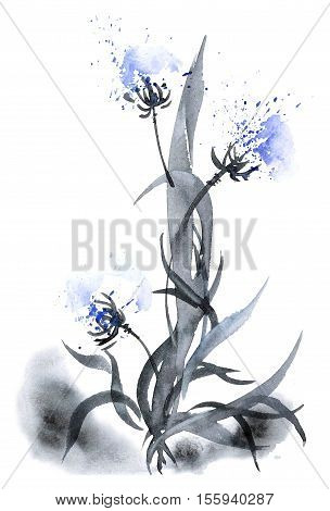 Watercolor and ink illustration of flower and leaves with smoke in style sumi-e u-sin. Oriental traditional painting. Decorative background.