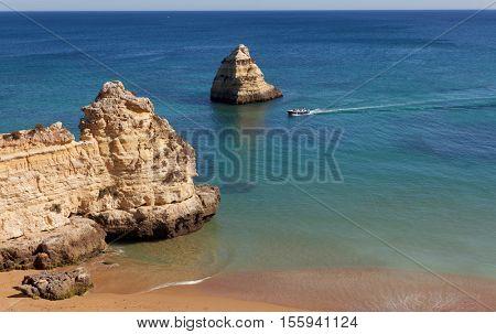 Dona Ana beach (Praia Dona Ana) in Lagos, Algarve, Portugal .  Resort in Algarve.