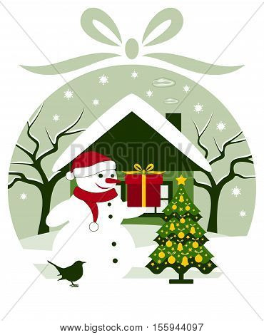 vector christmas ball with snowman with gift and christmas tree in snowy landscape
