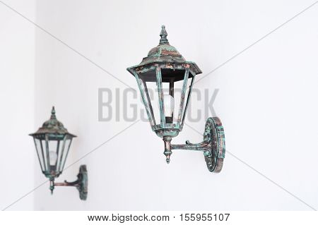old Vintage lamp isolated on white background.