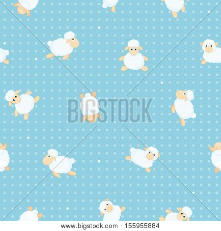Seamless pattern with animals. Sheep in different poses on a blue background. Other sheep in a cartoon style. Vector illustration.
