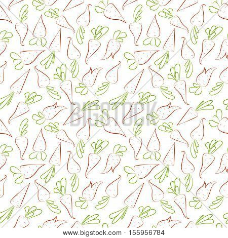 Seamless pattern with carrots. Carrots isolated on white background.