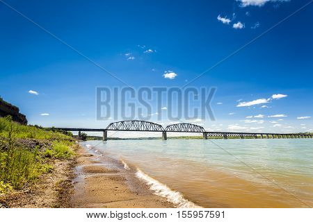 Turbid waters of Missouri river in South Dakota USA