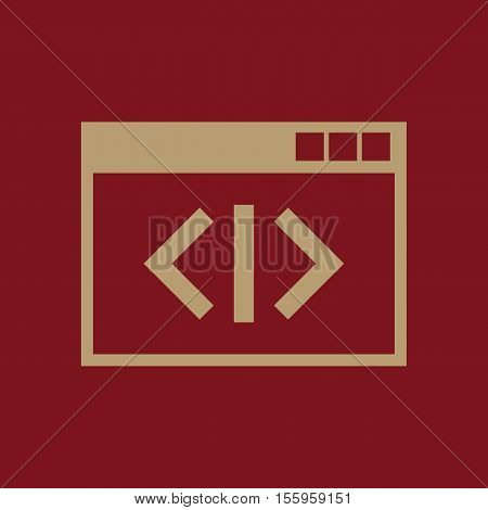 The coding icon. WWW and browser, development, seo, coding symbol. UI. Web. Logo Sign Flat design App Stock vector