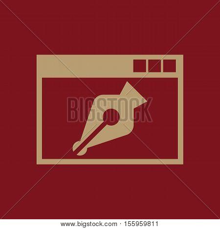 The web design icon. WWW and browser, development, seo, web design symbol. UI. Web. Logo. Sign Flat design App Stock vector