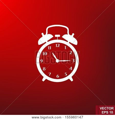 Contour. Red background. Alarm clock. Morning. Time. For your design.